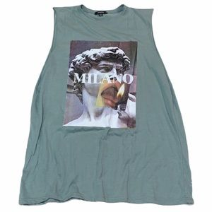 MISSGUIDED MINT GREEN MUSCLE TEE DRESS SIZE 10